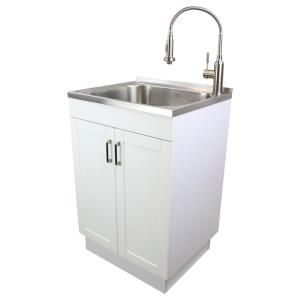 Transolid All In One 23 6 In X 19 7 In X 34 6 In Stainless Steel Laundry Utility Sink And Wood Cabinet With Faucet In White Tc 2420 Wc In 2020 Laundry Sink Utility Sink Sink