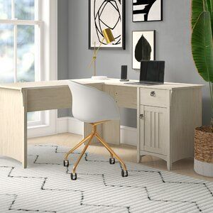 Get To Work In The French Country Style With This Executive Chair Enveloped In Linen Upholstery This Chair Features A High Backr In 2020 L Shaped Desk Furniture Desk