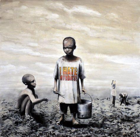 "Banksy- I Hate Mondays 24""X24"" - Graffiti Street Art"