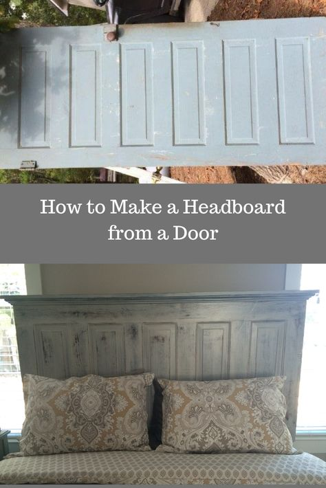 Looking for an inexpensive DIY idea for a headboard? We will show you how to make a headboard for queen or king bed from a vintage door using crown molding. This is the perfect weekend project. We kept the distressed appearance because we like the Diy King Headboard, Headboard From Old Door, Door Headboards, How To Make Headboard, Headboards For Beds Diy, Farmhouse Headboards, Homemade Headboards, Vintage Headboards, Making A Headboard
