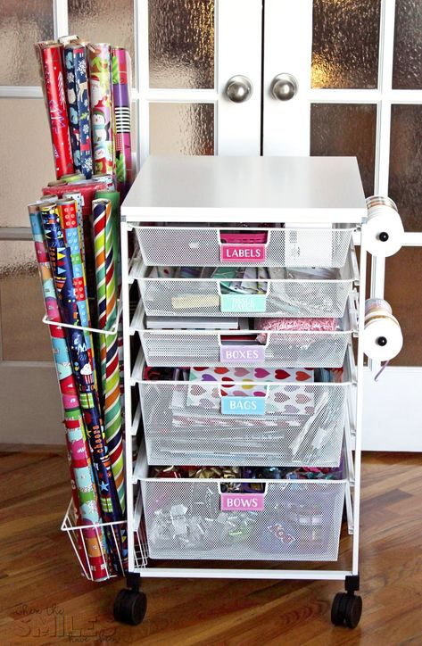 Gift wrap organization - Gift Wrap Organizer Cart with Colorful DIY Drawer Labels – Gift wrap organization Gift Bag Organization, Gift Bag Storage, Wrapping Paper Organization, Organizing Labels, Gift Wrap Organizer, Craft Storage, Organizing Gift Bags, Storage Ideas, Vanity Organization