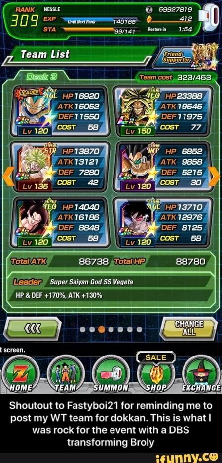 Shoutout To Fastyboi21 For Reminding Me To Post My Wt Team For Dokkan This Is What I Was Rock For The Event With A Dbs Transforming Broly Ifunny Memes