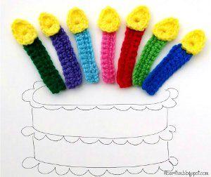 Birthday Candle Crochet Applique: free crochet pattern