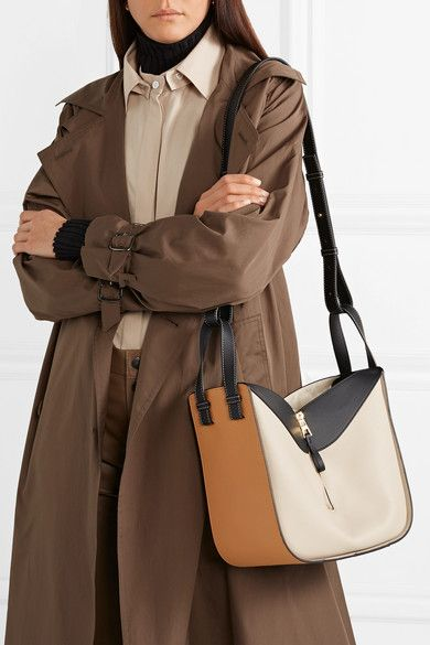 Beige Hammock Small Color Block Textured Leather Shoulder Bag Loewe Leather Shoulder Bag Loewe Hammock Bag Bags