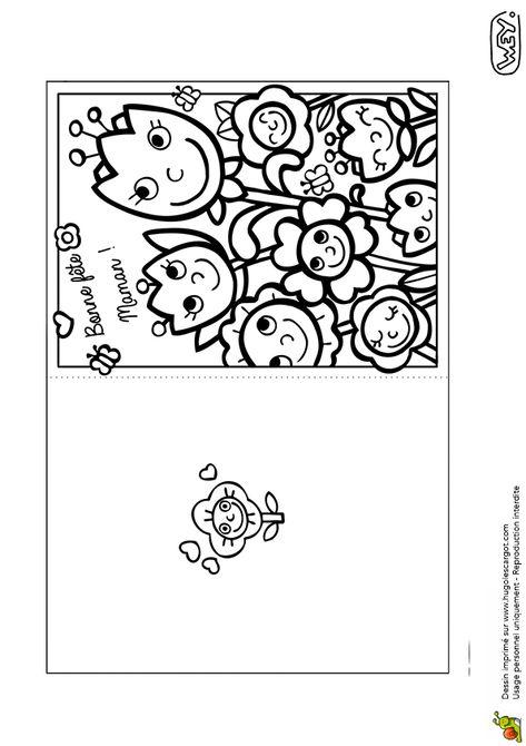 Une carte avec fleurs à colorier et à découper pour la fête des mères | Coloriage fête des mères ...