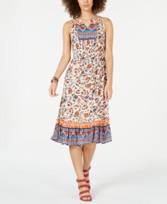 Paisley Flower Midi Dress Created For Macy S Macys Com Flower Midi Dress Dresses Petite Midi Dress