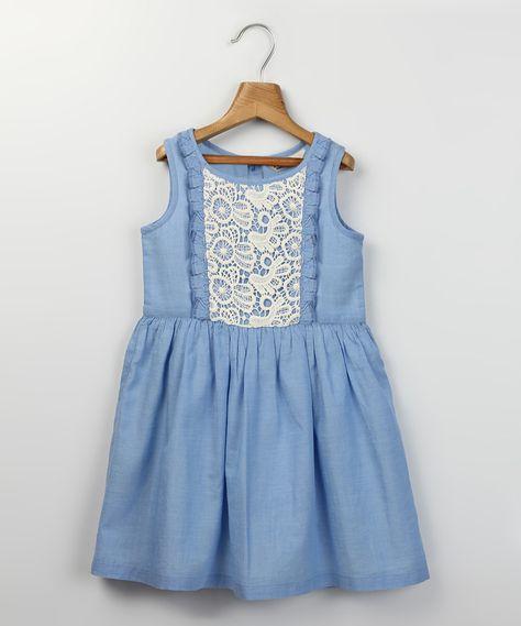 Beebay Light Blue & White Ruffle Chambray Dress - Girls   zulily