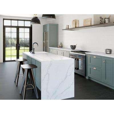 Silestone 4 In X 8 In Quartz Countertop Sample In Calacatta Gold High Gloss Outdoor Kitchen Countertops