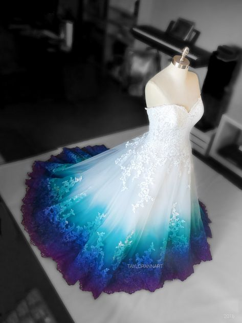 Lace — Bridal Gowns Colored by Taylor Ann Art - Gallery Ombre Wedding Dress, Fantasy Wedding Dresses, 2nd Wedding Dresses, Pretty Prom Dresses, Fantasy Gowns, Colorful Wedding Dresses, Peacock Wedding Dresses, Dresses For Weddings, Peacock Themed Wedding