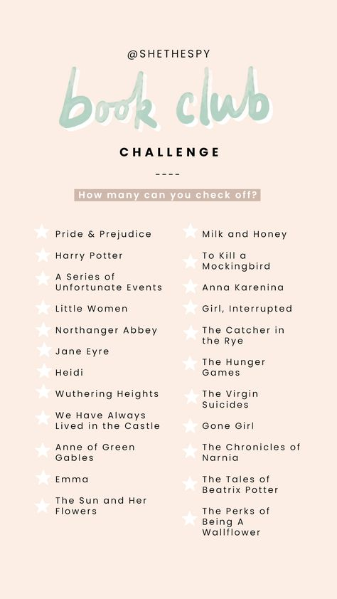 Book Club challenge  || how many can you check off?