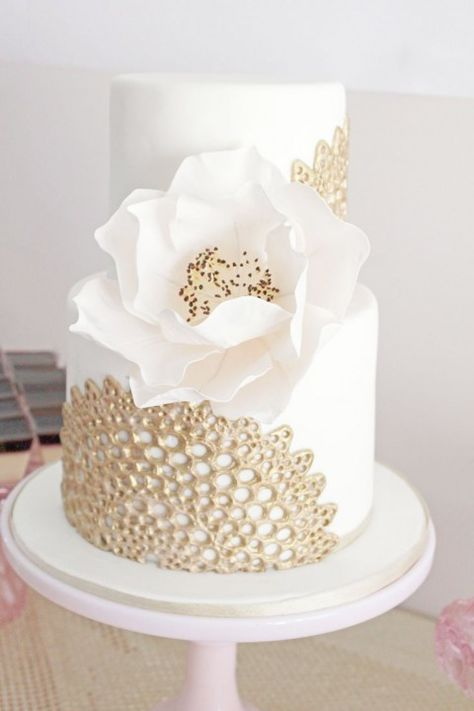 Pink and Gold dessert table styled by One Lovely Day - cake by Sweet Bloom Cakes. white and gold wedding cake