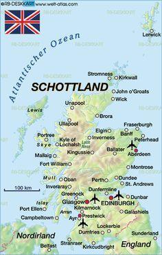 Karte Von Schottland Grossbritannien Scotland Map Scotland