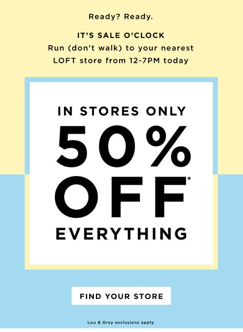 Loft: Tick, tock! 50% OFF EVERYTHING IN STORE | Milled