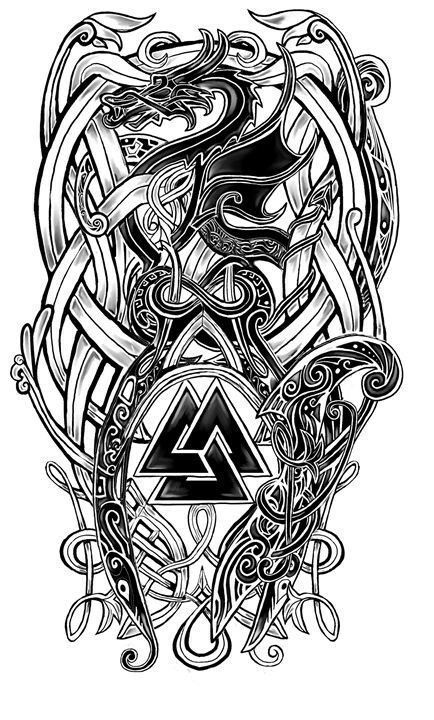 28 Trendy Ideas For Celtic Dragon Tattoo Tatoo Viking Tattoo Sleeve, Norse Tattoo, Celtic Tattoos, Arm Tattoo, Body Art Tattoos, Tribal Tattoos, 3d Tattoos, Samoan Tattoo, Polynesian Tattoos