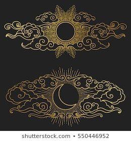Image vectorielle de stock de Soleil et lune dans le ciel 515989258