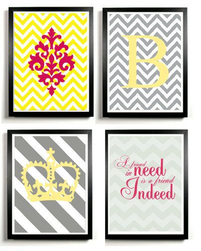 Chevron Letter Art Print Crown, innitital ,quote - Yellow and Gray