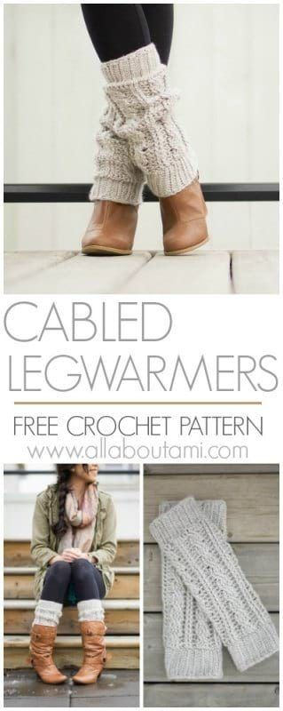 Cabled Legwarmers/Boot Cuffs - All About Ami - Crochet! - Cabled Legwarmers/Boot Cuffs - All About Ami Crochet these stylish cabled legwarmers that you can wear layered over or under your boots! Free crochet pattern & tutorial available! Guêtres Au Crochet, Crochet Cable, Free Crochet, Crochet Crafts, Crochet Projects, Quick Crochet, Crochet Leg Warmers, Crochet Boot Cuffs, Crochet Slippers