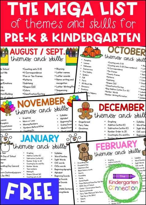 Grab our Free Clickable Mega List of Themes and Skills for Pre-K and Kindergarten Lesson Plans to see what themes and skills I cover in my classroom all year! #kindergartenlessonplans #kindergartenthemes #kindergartenskills