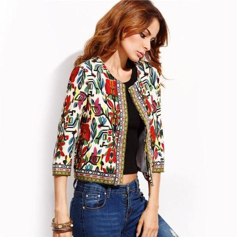Shop Multicolor Tribal Print Outerwear With Embroidered Tape Detail online. SheIn offers Multicolor Tribal Print Outerwear With Embroidered Tape Detail & more to fit your fashionable needs.