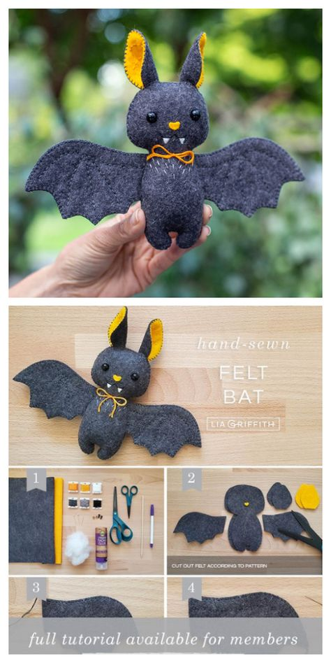 Diy Easy Embroidery, Hand Embroidery Patterns Free, Sewing Patterns, Felt Patterns Free, Applique Patterns, Bat Pattern, Softie Pattern, Felt Animal Patterns, Stuffed Animal Patterns