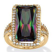 Ladies Glistening Wing Crystal Pave Gold Plated Cocktail Ring