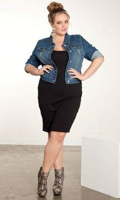Outfit casual para el día moda fashion, plus size chic y dark denim jacket.