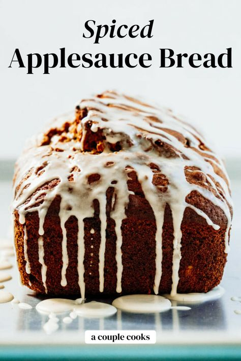 This applesauce bread recipe is the best quick bread! It's unbelievably tasty and cozy spiced. Step it up with an easy icing drizzle! #applesauce #applesaucebread #quickbread #easybread #applesaucerecipe
