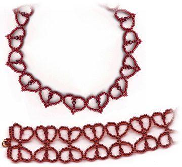 Free Beading Pattern Simple Hearts Necklace and Bracelet by Sandra D. Halpenny!