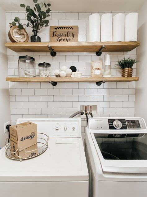 This small laundry room makeover on a budget was so fun to create. Under 100 dollars, using peel and stick wallpaper, and do it yourself shelves gives the perfect farmhouse inspiration to a small space. Laundry Room Shelves, Laundry Room Remodel, Laundry Decor, Basement Laundry, Farmhouse Laundry Room, Laundry Room Organization, Laundry Room Design, Laundry In Bathroom, Laundry Closet