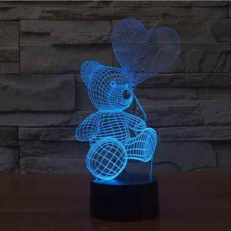 Teddy With Balloon 3d Illusion Lamp In 2020 3d Led Lamp 3d Night Light 3d Illusion Lamp
