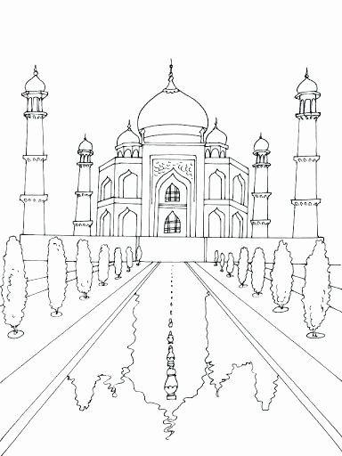 24 Taj Mahal Coloring Page In 2020 Taj Mahal Drawing Coloring