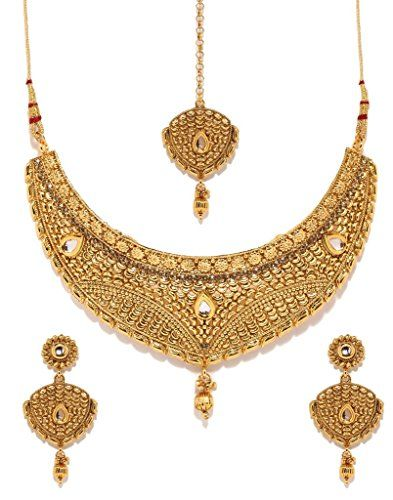 Gold Plated Wedding Bridal Necklace Earrings Mang Tkka Set Bollywood Jewelry