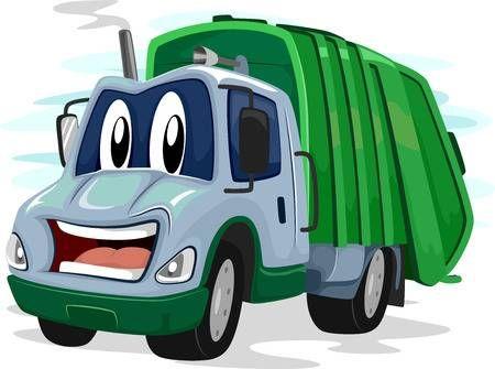 Mascot Ilustracion De Un Camion De Basura Que Destella Una Sonrisa Torpe Camion De Basura Dibujos Para Cartas Camion Dibujo