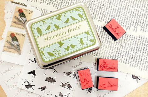 DIY montagna uccello timbri timbri in legno timbro artigianale timbro sigillo in legno carta bollo inchiostri pad - Tin Box Set timbro