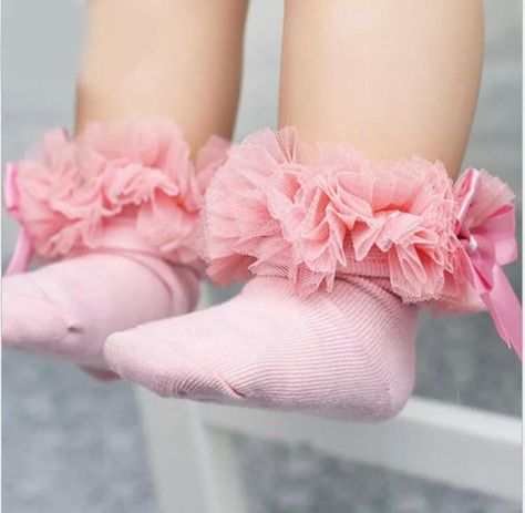 Baby Girls Tutu Ankle Socks Toddlers Spanish Satin Organza Babies Bow Frilly 0-5
