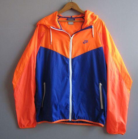 ea4c10b3b7 Nike Blue Neon Orange Windbreaker Jacket Track Running L Large  Nike   Windbreaker