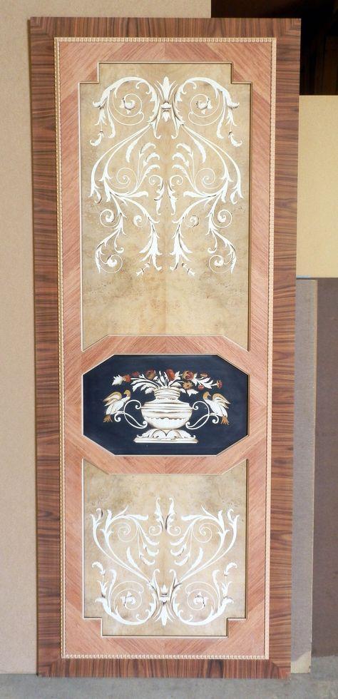 "Pannello intarsiato per porta scorrevole mod. ""Vasi"" Inlaid panel for sliding door mod. ""Vases"" info@mobiliaresi.com"