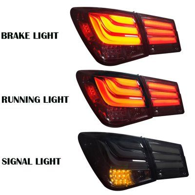 Fits 2011-2015 Cruze Sport Smoked LED Tube Design LED Tail Lights Brake Lamps