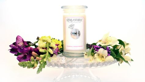 Eternal Honeymoon Ring Candle  With our new Ring Candles you can now pick your own ring size =) A Perfect Fit Every Time!   A truly romantic scent! Imagine a honeymoon that would never end! That is where this ring candle takes me! It's the warm scents of citrus peel and sweet orange create sparkle for the sensual bouquet of jasmine and peony in this luxurious blend. Golden amber and sweet vanilla bean balance with sandalwood and musk to create a sensual background for the floralcy.