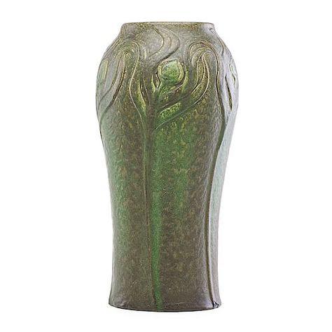 Rare Antique Anna Van Briggle Pottery Matte White Horn Vase Art Noveau Deco