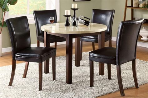 round faux marble espresso dining table set dining rooms rh pinterest co uk
