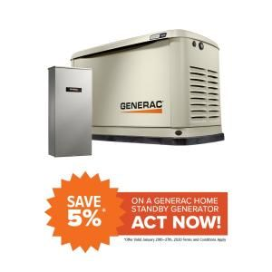 Generac Guardian 16 000 Watt Air Cooled Standby Generator With Wi Fi And 100 Amp Transfer Switch 7036 The Home Depot In 2020 Standby Generators Transfer Switch Generation