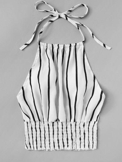 b62f1bbf2 Striped Print Frill Hem Halter Top -SheIn(Sheinside) | Blusas en ...