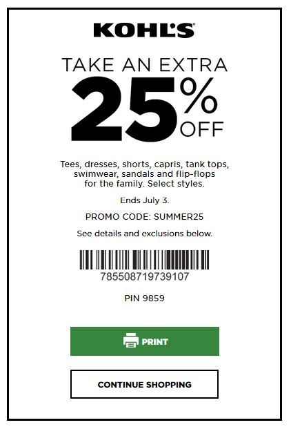 Kohls Coupons 25 Off Select Styles Tees Dresses Tanks