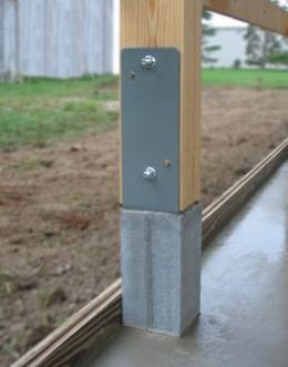 sturdiwall bracket a steel strap used to tie 4x4 post to concrete and two precast 4x4in concrete columns to set in ground in place of a wood posu2026