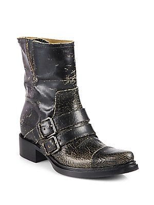 4f94aee41ac Miu Miu Distressed Cracked Leather Motorcycle Boots