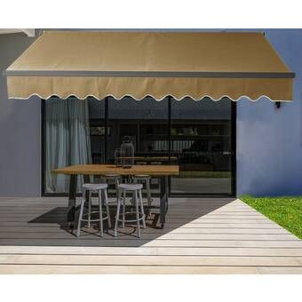 Aleko Fabric Retractable Standard Patio Awning Reviews Wayfair In 2020 Patio Awning Wood Deck Aleko