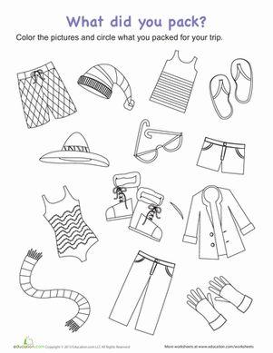 Packing For A Trip Worksheet Education Com Kindergarten Summer Worksheets Summer Kindergarten Summer Worksheets