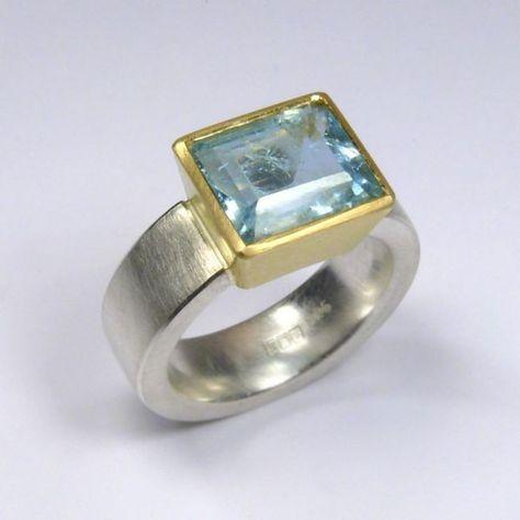 Ring, Silver 925 / -, Gold 750 / -, aquamarine, rectangular faceted Source by elkeertelt