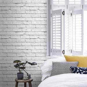 Arthouse White Brick Effect Unpasted Wallcovering 623004 The Home Depot White Brick Wallpaper Bedroom Brick Wall Bedroom White Paneling
